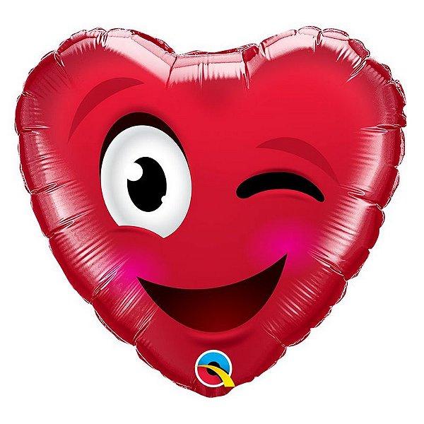 """Balão de Festa Microfoil 18"""" 45cm - Coração Piscando - 01 Unidade - Qualatex - Rizzo Embalagens"""