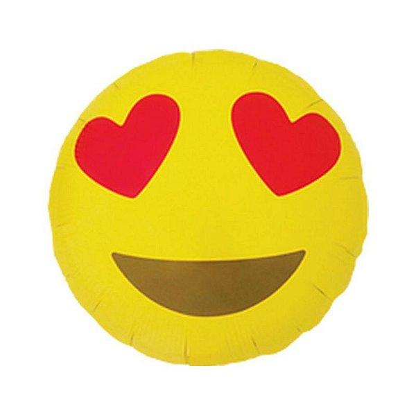 """Balão de Festa Microfoil 18"""" 45cm - Emoji Coração - 01 Unidade - Qualatex - Rizzo Embalagens"""