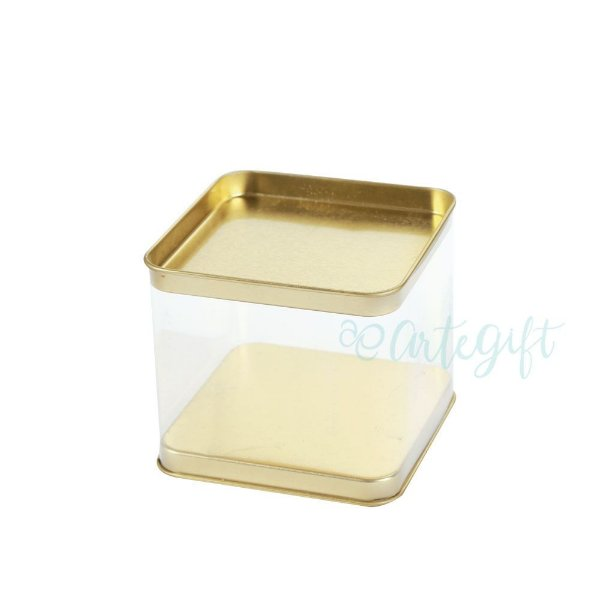 Lata Quadrada Transparente Ouro - 8,2x7,2cm - 06 unidades - ArteGift - Rizzo Embalagens