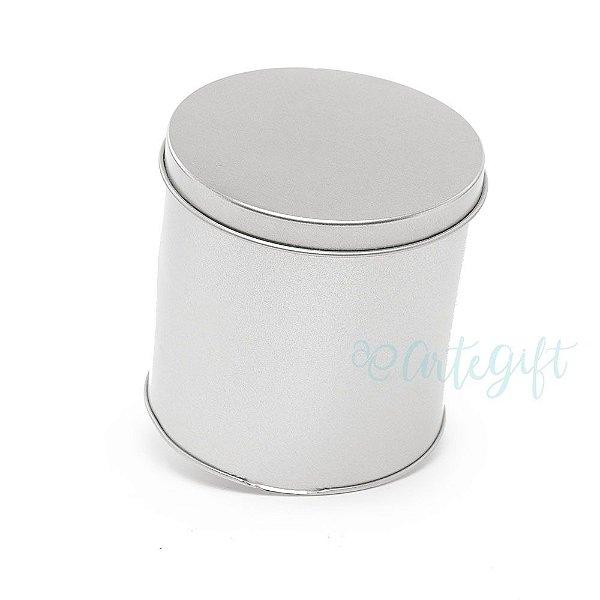 Lata Redonda para Lembrancinha Prata - 10x10cm - 01 unidade - Artegift - Rizzo Embalagens