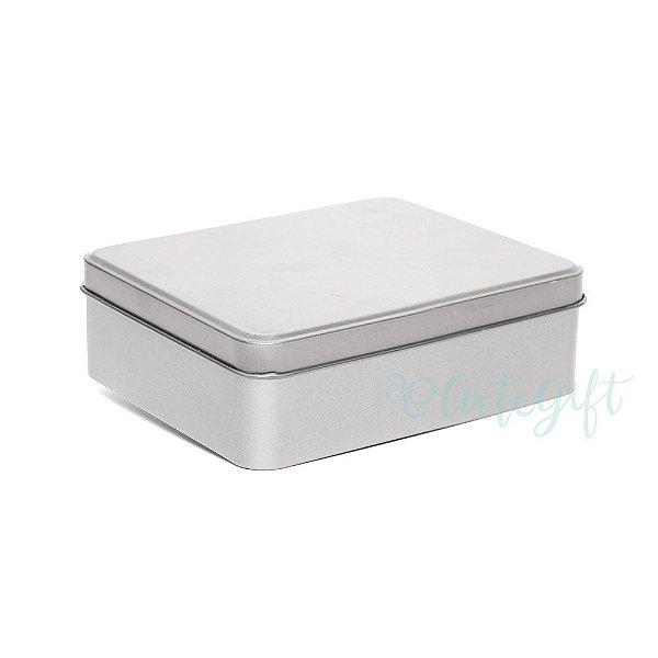 Lata Retangular para Lembrancinha Prata - 11,5x19cm - 01 unidade - Artegift - Rizzo Embalagens