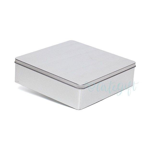 Lata Quadrada para Lembrancinha Prata G - 19,5x5,5cm - 01 unidade - Artegift - Rizzo Embalagens