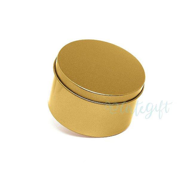 Lata Redonda para Lembrancinha Dourada - 7,5x4cm - 06 unidades - Artegift - Rizzo Embalagens