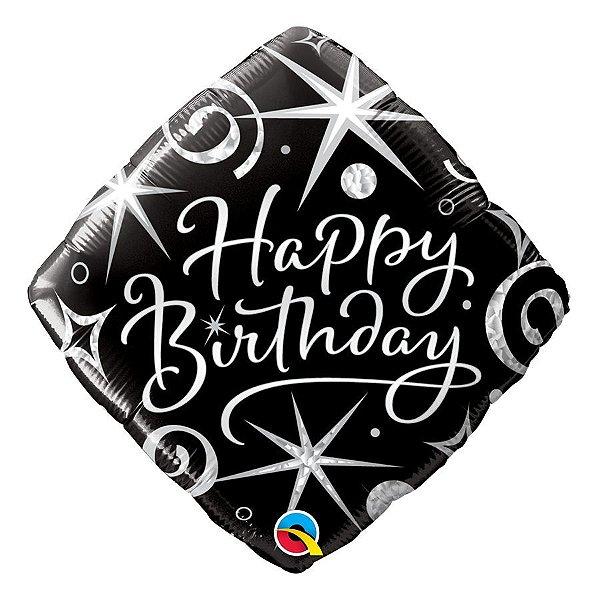 """Balão de Festa Microfoil 18"""" 45cm - Birthday Elegante Brilho - 01 Unidade - Qualatex - Rizzo Embalagens"""