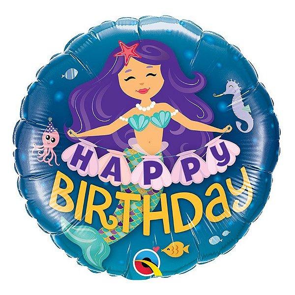 """Balão de Festa Microfoil 18"""" 45cm - Happy Birthday Sereia - 01 Unidade - Qualatex - Rizzo Embalagens"""