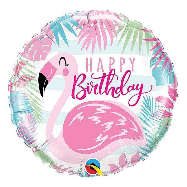"""Balão de Festa Microfoil 18"""" 45cm - Happy Birthday Flamingo - 01 Unidade - Qualatex - Rizzo Embalagens"""