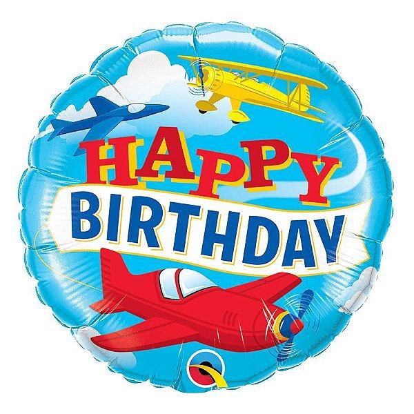 """Balão de Festa Microfoil 18"""" 45cm - Happy Birthday Aviões - 01 Unidade - Qualatex - Rizzo Embalagens"""