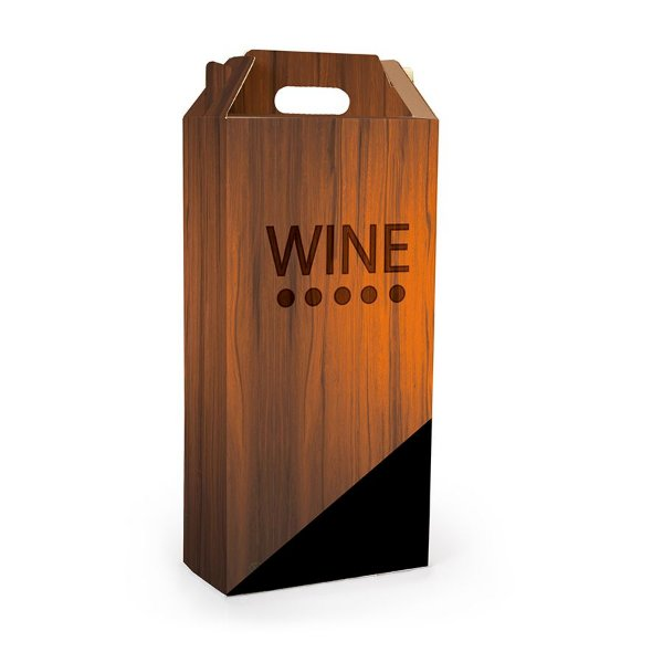 Caixa para 2 Garrafas de Vinho 8x8x33cm - Estampa Madeira Wine - 10 unidades - Cromus - Rizzo Embalagens