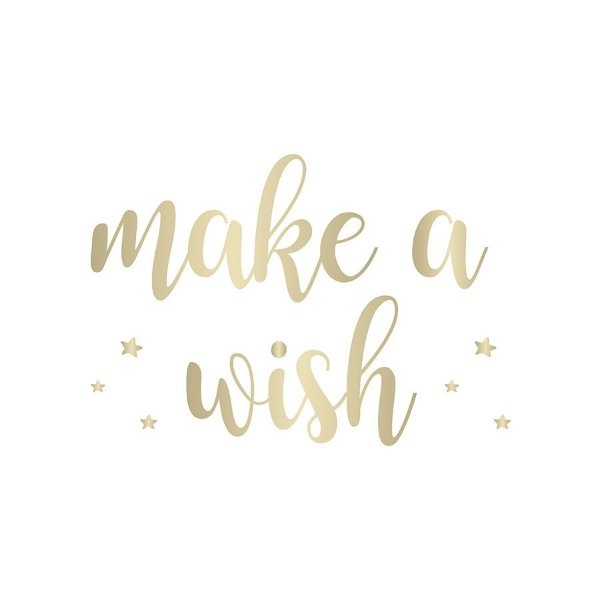 Transfer Para Balão Lettering Ouro - Make a Wish - 01 Unidade - Cromus Balloons - Rizzo Embalagens