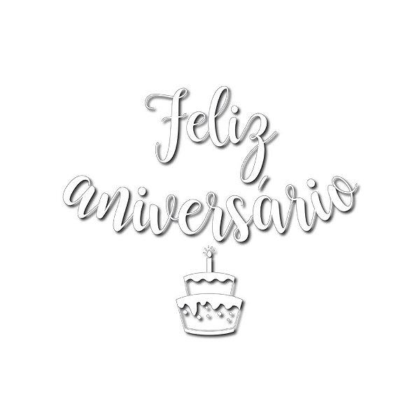 Transfer Para Balão Lettering Branco - Feliz Aniversário Bolo - 01 Unidade - Cromus Balloons - Rizzo Embalagens