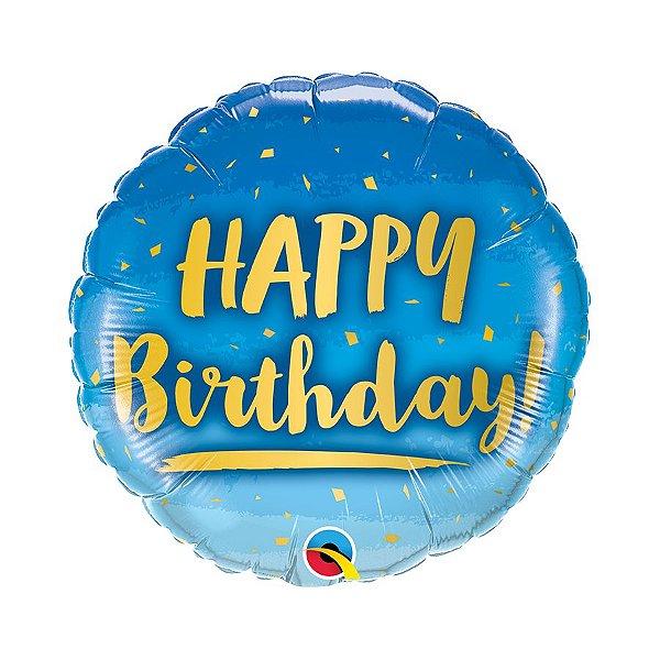 """Balão de Festa Microfoil 18"""" 45cm - Happy Birthday Azul e Dourado - 01 Unidade - Qualatex - Rizzo Embalagens"""