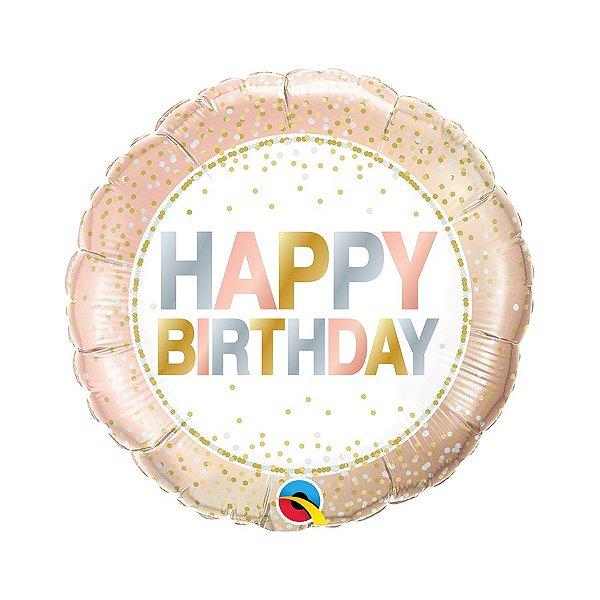 "Balão de Festa Microfoil 18"" 45cm - Happy Birthday Rose Gold - 01 Unidade - Qualatex - Rizzo Embalagens"