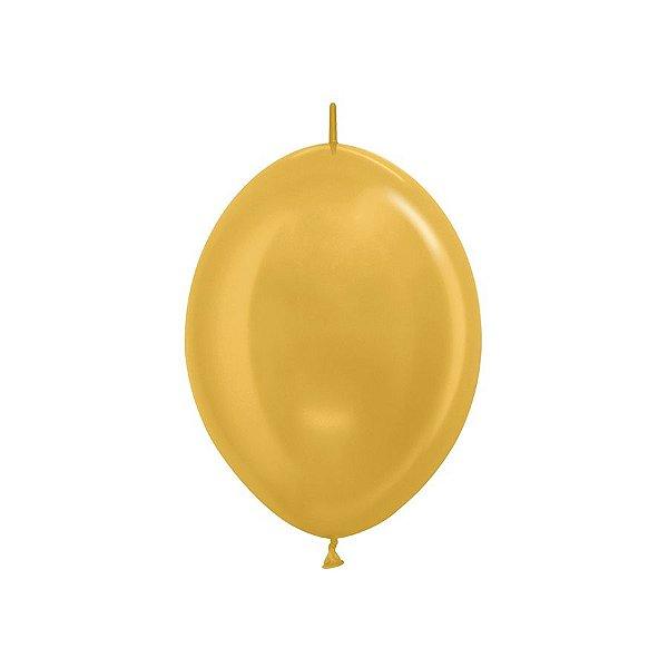 """Balão de Festa Link-o-Loon 12"""" 28cm - Dourado - 50 Unidades - Sempertex - Rizzo Embalagens"""