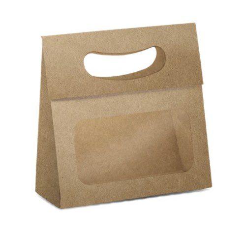 Mini Caixa Plus para Ovos com Visor Páscoa Kraft - 10 unidades - 13x5,5x13cm - Cromus - Rizzo Embalagens