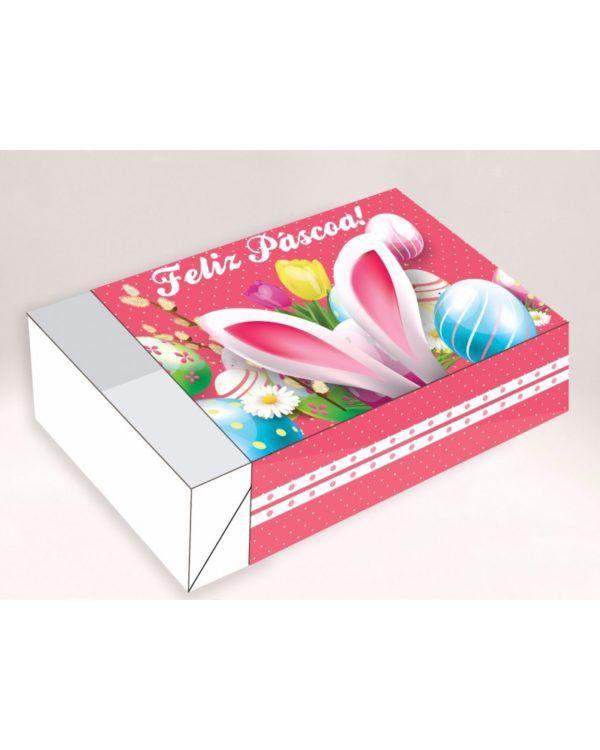 Caixa Divertida para 06 doces - Feliz Páscoa Orelha Ref. 348 - 10 unidades - Erika Melkot Rizzo Embalagens