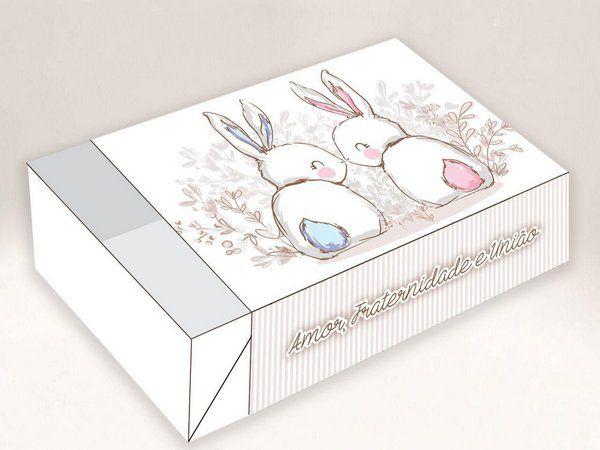 Caixa Divertida para 06 doces - Páscoa Casal Coelho Ref. 869 - 10 unidades - Erika Melkot - Rizzo Embalagens