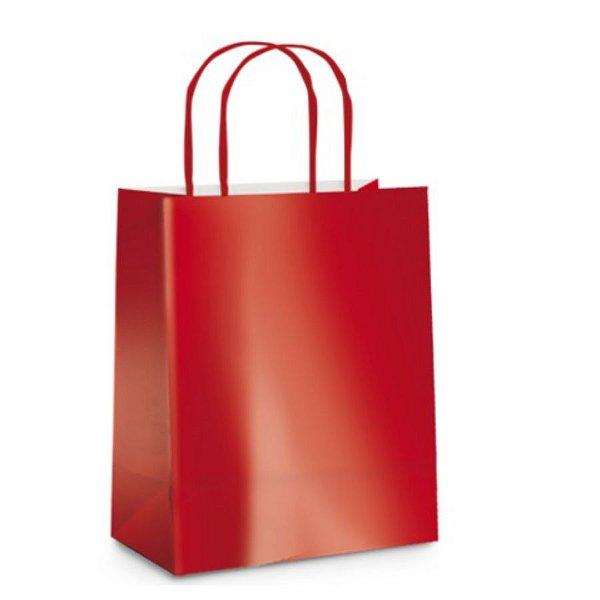 Sacola de Papel P Vermelho Metalizada - 21,5x15x8cm  - 10 unidades - Cromus - Rizzo Embalagens