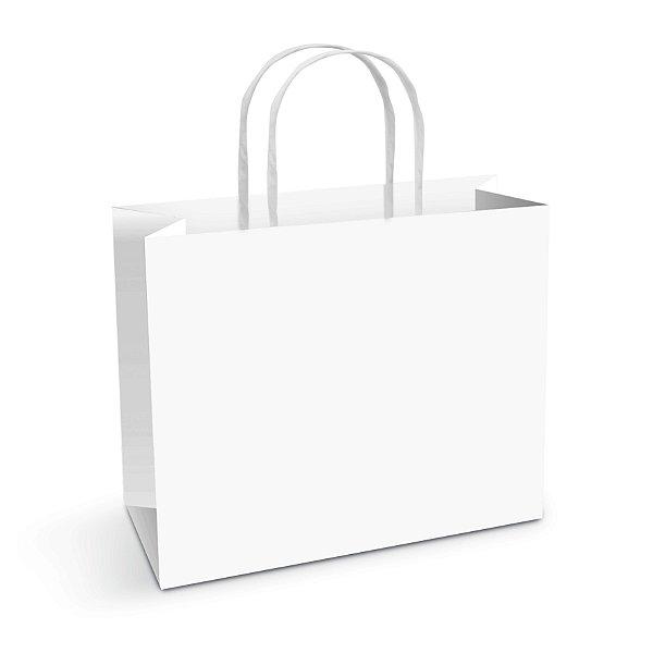 Sacola de Papel Branca - Horizontal M 22x30x9cm - 50 unidades - Cromus - Rizzo Embalagens