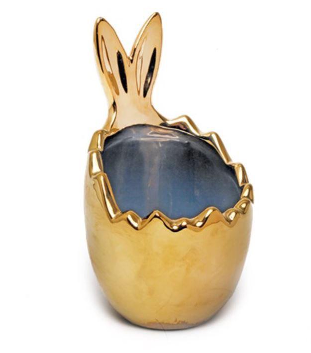 Casca de Ovo com Orelhas Coelho em Cerâmica - 1 unidade - Ouro - Cromus Páscoa
