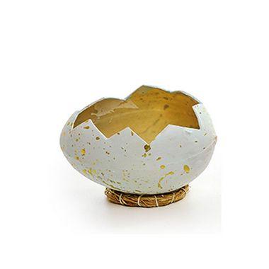 Casca Ovo em Deitado com Suporte de Fibra Branco - 12cm x 8cm - Cromus Páscoa - Rizzo Embalagens