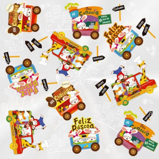 Folha para Ovos de Páscoa Food Truck Incolor 69x89cm - 05 unidades - Cromus Páscoa - Rizzo Embalagens