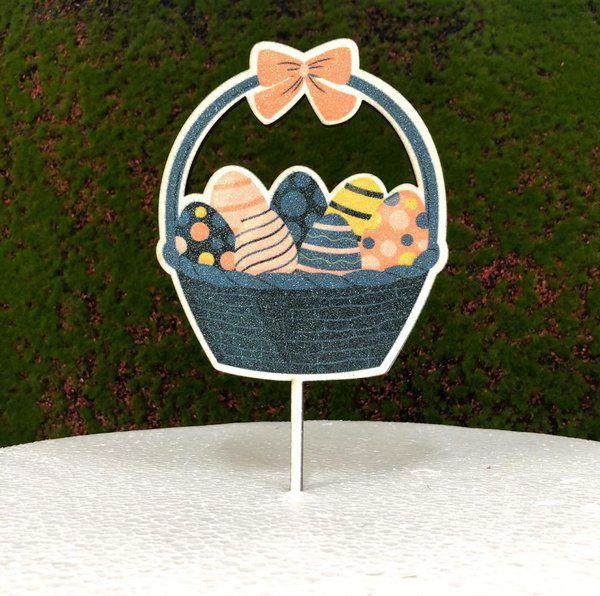 Topo de Bolo Color Glitter Cestinha de Ovos - Sonho Fino - Rizzo Embalagens