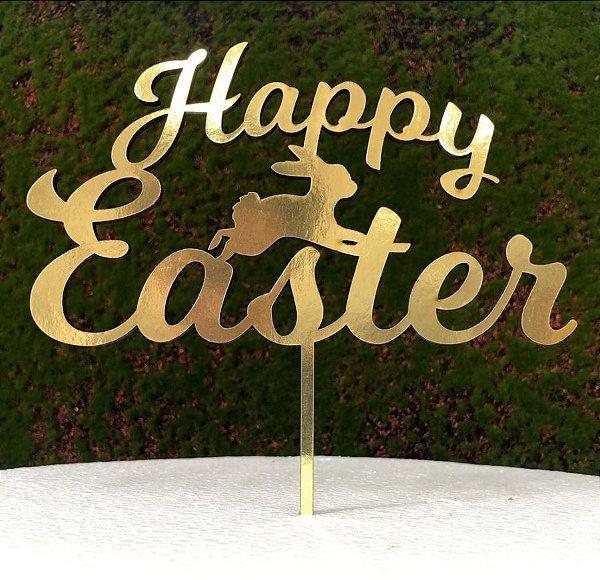 Topo de Bolo Happy Easter Coelho em MDF Metalizado Dourado - Sonho Fino - Rizzo Embalagens