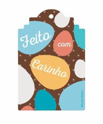 Tag Decorativa Feito com Carinho com 12 un. Duster Festas Rizzo Confeitaria