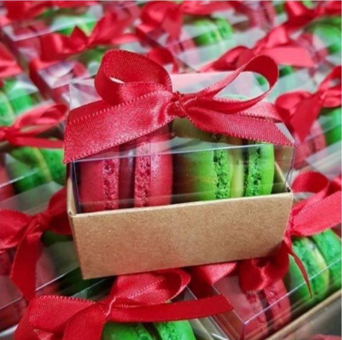 Embalagem para 2 Macarons - Kraft - Ref. CR2MK- 5x4,5x4,5 - 12 Unidades - San Felipo - Rizzo Embalagens