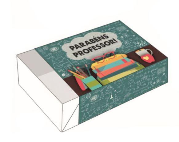 Caixa Divertida para 6 doces - Parabéns Professor Ref. 718 - 10 unidades - Erika Melkot - Rizzo Embalagens