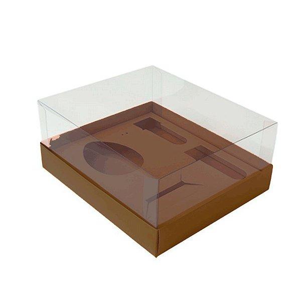Caixa Ovo de Colher Kit Confeiteiro - Meio Ovo de 100g a 150g - 20,5cm x 17cm x 6,5cm - Marrom - 5unidades - Assk - Pásc