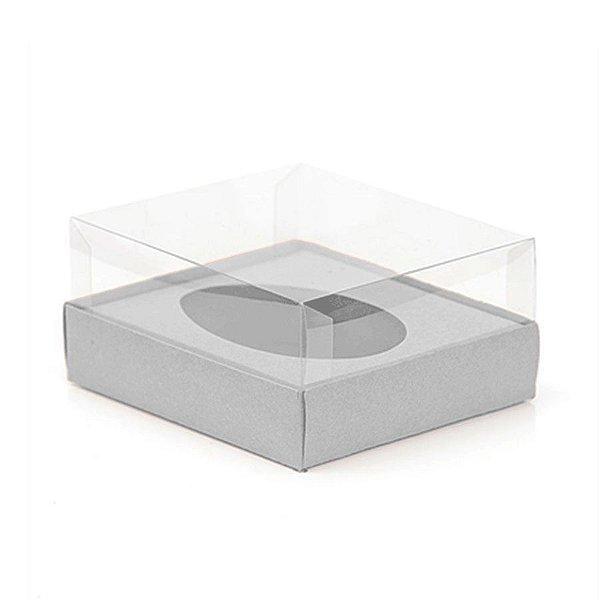 Caixa Ovo de Colher - Meio Ovo de 250g - 15cm x 13cm x 6,5cm - Metalizada Prata - 5unidades - Assk - Páscoa Rizzo Emb