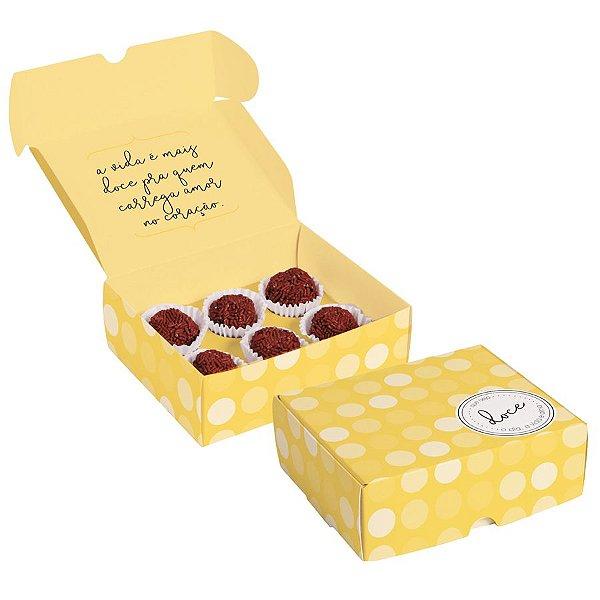 Caixa para Brigadeiros Que Seja Doce Amarelo - 10 unidades - Cromus - Rizzo Embalagens