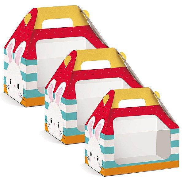 Caixa Maleta Kids com Visor Páscoa Adoleta - 10 unidades - Cromus Páscoa - Rizzo Embalagens