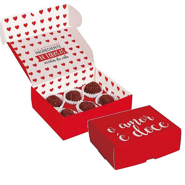 Caixa para brigadeiros Doce Amor - 10 unidades - Cromus - Rizzo Embalagens