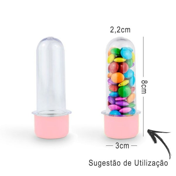 Mini Tubete Lembrancinha 8cm 10 unidades - Rosa - Rizzo Embalagens e Festas