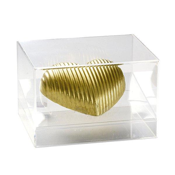 Caixa Meio Ovo de Coração em Acrílico Resistente Transparente 350g - Linha Elegance - Cromus Páscoa Rizzo