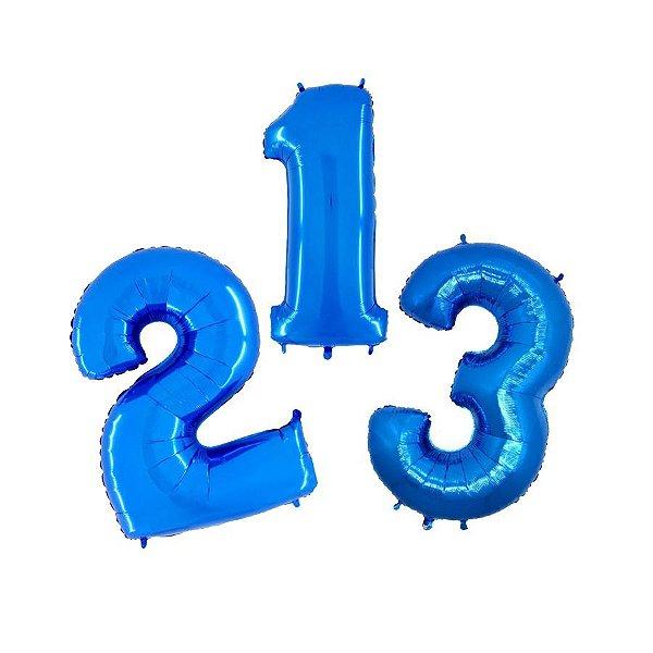 """Balão de Festa 40"""" 102cm - Número Azul - 01 Unidade - Grabo - Rizzo Embalagens"""