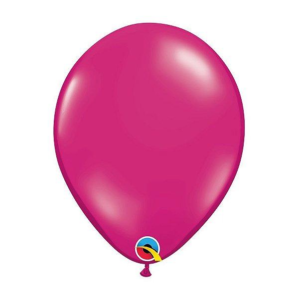 Balão de Festa Látex Liso Cristal - Magenta Joia - Qualatex - Rizzo Embalagens