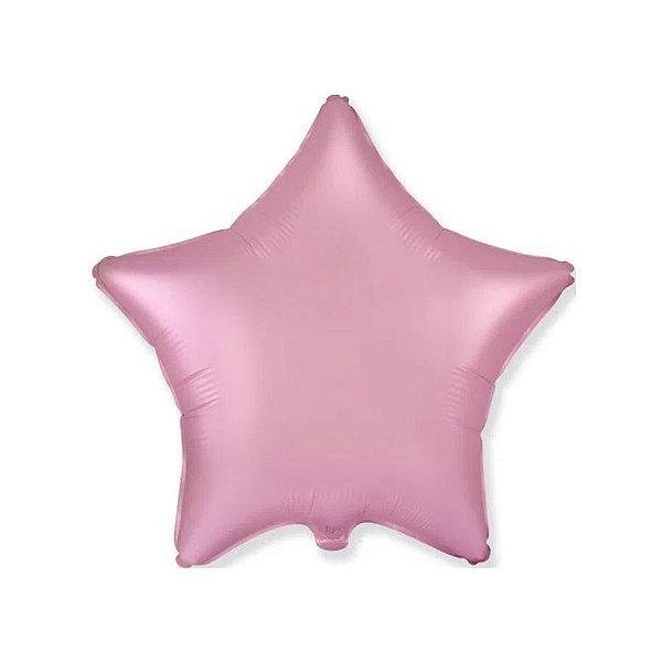 """Balão de Festa Metalizado 20"""" 50cm - Estrela Cromado Rosa Pastel - 01 Unidade - Flexmetal - Rizzo Embalagens"""