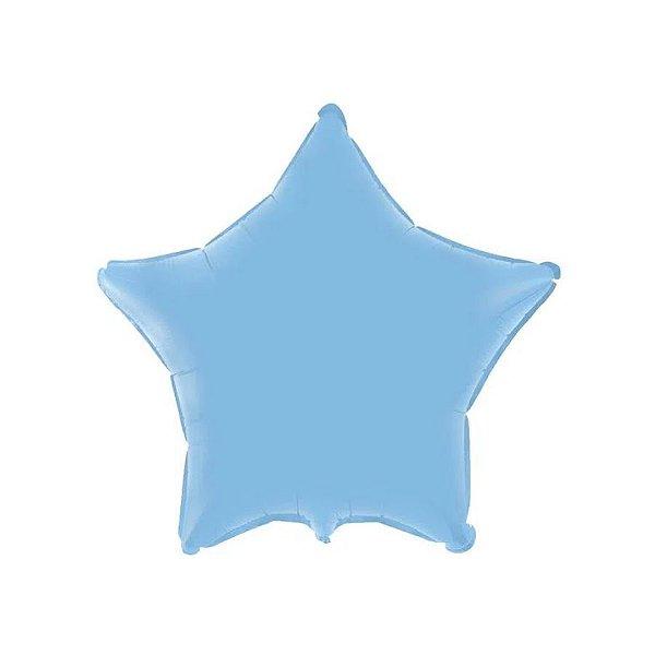 """Balão de Festa Metalizado 20"""" 50cm - Estrela Azul Baby - 01 Unidade - Flexmetal - Rizzo Embalagens"""