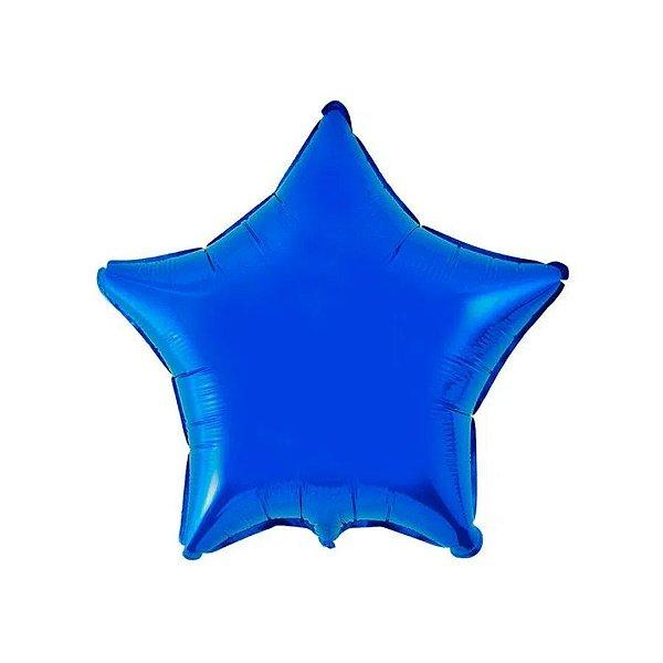 """Balão de Festa Metalizado 20"""" 50cm - Estrela Azul - 01 Unidade - Flexmetal - Rizzo Embalagens"""