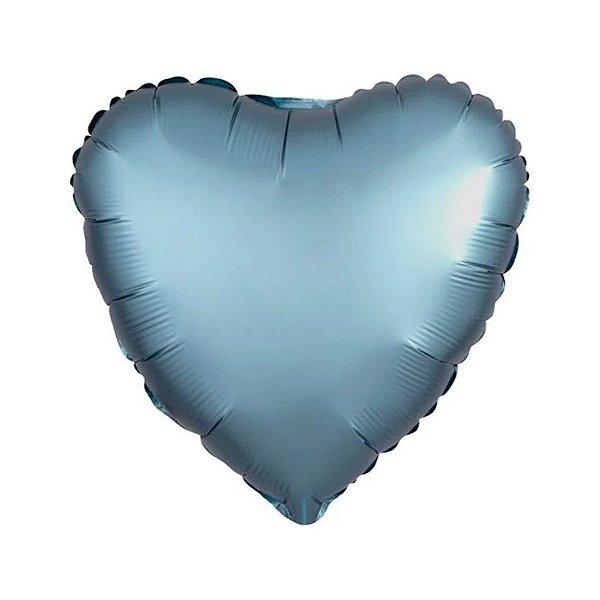 """Balão de Festa Metalizado 20"""" 50cm - Coração Cromado Azul Steel - 01 Unidade - Flexmetal - Rizzo Embalagens"""