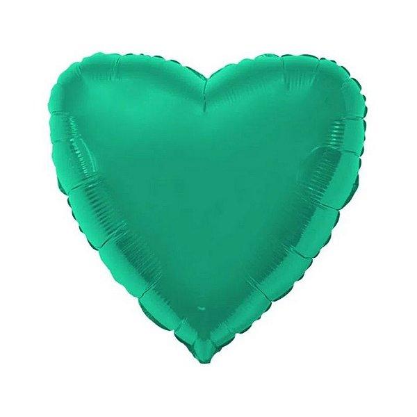 """Balão de Festa Metalizado 20"""" 50cm - Coração Verde - 01 Unidade - Flexmetal - Rizzo Embalagens"""