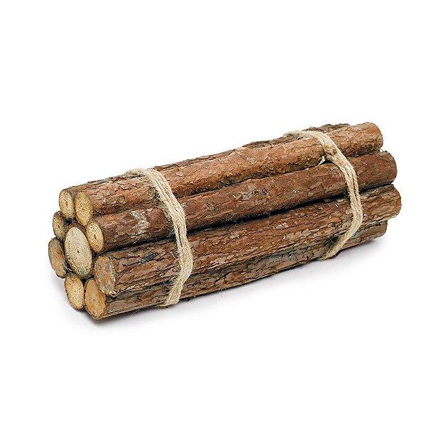 Lenha Decorativa Madeira 30cm - Linha Rustic - Cromus Páscoa - Rizzo Embalagens