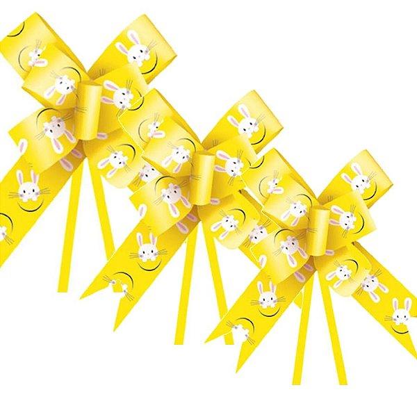 Laço Fácil Coelho Fantasia Amarelo - 10 unidades - Cromus Páscoa - Rizzo Embalagens