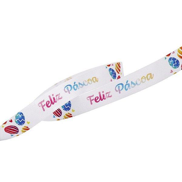 Fita em Cetim 15mmx10m Feliz Páscoa Tie Dye ECF003TR 025 Progresso Rizzo Embalagens