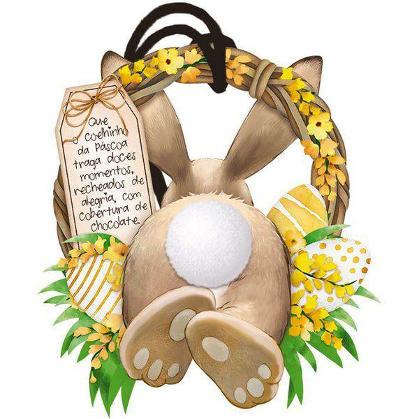 Tag de Páscoa Madeira Guirlanda de Coelho com Pompom - LitoArte - Rizzo Embalagens