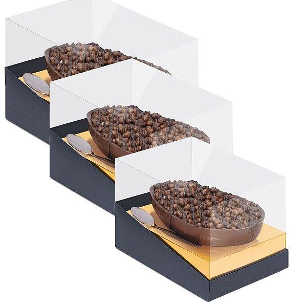 Caixa Specialla para Meio Ovo Ouro e Preto - 06 unidades - Cromus Páscoa - Rizzo Embalagens