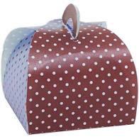 Caixa Bem Casado Poá Marrom/Azul - 6,5x6,5x5,5cm - 24 unidades - Cromus Festas
